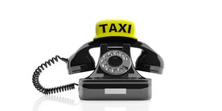 Vintage phone and taxi sign - London taxi concept. 3d illustration Royalty Free Stock Photography