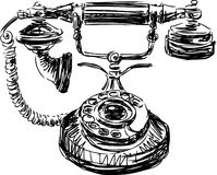 Vintage phone. Vector image of a sketch of old phone stock illustration