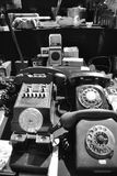 Vintage phones. Black and white image of old phones at the Montevideo Old Town Flea Market Royalty Free Stock Images