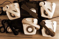 Vintage phones. The mix of vintage phones Stock Image