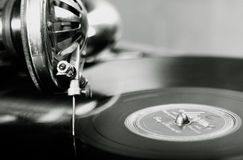 Vintage phonograph. Close up shot with shallow depth of field Stock Photos