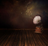 Vintage phonograph on Art abstract background Royalty Free Stock Images