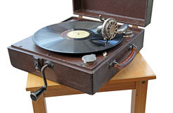 Vintage phonograph record player. Photo of a vintage early twentieth century phonograph playing a 78 speed record Stock Photo