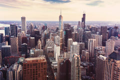 Vintage photo with aerial view of Chicago, Illinois. Royalty Free Stock Images