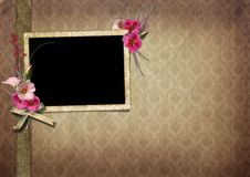 Vintage Photo Album. The frame is decorated with a bouquet of flowers hollyhocks Stock Image