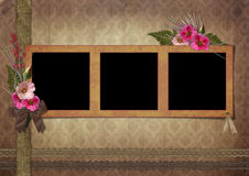 Vintage Photo Album. The frame is decorated with a bouquet of flowers hollyhocks Stock Photography