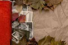 Nostalgia concept. Memoirs. Retro vintage background with copy space. Vintage photo album book laying in fallen autumn leaves and retro photos of peoples with Stock Image
