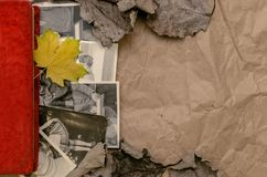 Nostalgia concept. Memoirs. Retro vintage background with copy space. Vintage photo album book laying in fallen autumn leaves and retro photos of peoples with Royalty Free Stock Photo