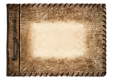 Vintage photo album with brown leather cover Stock Photo