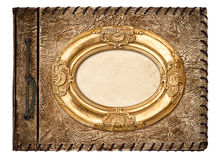 Vintage photo album. leather cover and golden frame Royalty Free Stock Image
