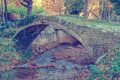 Vintage photo of autumn forest with bridge, Greece Royalty Free Stock Photography