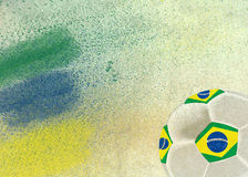 Vintage photo of Brazil flag and soccer ball Stock Photos
