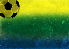 Vintage photo of Brazil flag and soccer ball Royalty Free Stock Image
