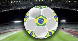 Vintage photo of Brazil flag and soccer ball Royalty Free Stock Images