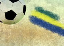 Vintage photo of Brazil flag and soccer ball Stock Photo