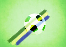 Vintage photo of Brazil flag and soccer ball Royalty Free Stock Photos