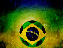 Vintage photo of Brazil flag and soccer ball Royalty Free Stock Photography