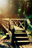 Vintage photo of bridge in the forest Stock Photo
