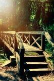 Vintage photo of bridge in the forest. Vintage photo of retro bridge in the forest Stock Photo