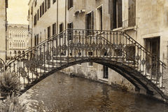 Vintage photo of the bridge in Venice Italy Royalty Free Stock Image