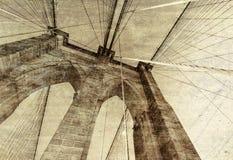 Vintage photo of Brooklyn Bridge in New York City.  stock photo