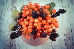 Vintage photo, Bunch of red viburnum with alder cone and acorns on rustic wooden background Stock Photo