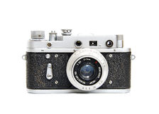 Vintage photo camera. Isolated on white background Stock Images