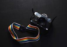 Vintage photo camera on the black background Stock Photo