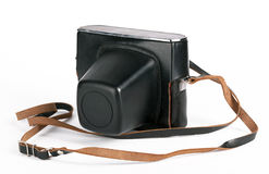 Vintage photo camera in case. Isolated on white background Royalty Free Stock Photos