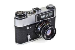 Vintage photo camera FED-5V with Industar-61L-D lens royalty free stock photo