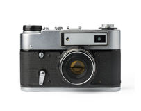 Vintage photo camera. Isolated on white background Stock Photos