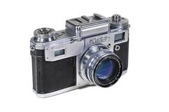 Vintage photo camera KIEV-4 with Jupiter-8M lens royalty free stock photos