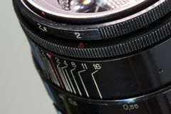 Vintage photo camera lens close up aperture 2.0 and distance scale Stock Photography