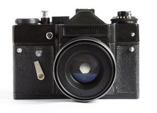 Vintage Photo Camera With Lense Isolated on a White Background Royalty Free Stock Photo