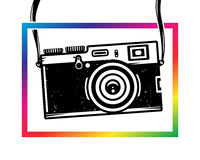 Vintage photo camera out of colorful frame Stock Photo