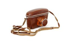 Vintage photo camera in red leather case isolated Royalty Free Stock Photos