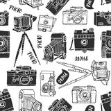 Vintage photo camera seamless background. Hand drawn vector Royalty Free Stock Images