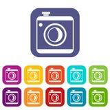 Vintage photo camera icons set. Vintage photo camera social network isolated on white background Stock Images