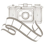 Vintage photo camera with vignette Royalty Free Stock Photo