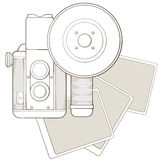 Vintage photo camera with vignette Royalty Free Stock Images