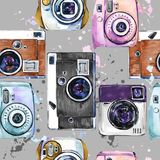 Vintage photo camera watercolor seamless pattern