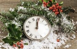 Vintage photo of Christmas clock Royalty Free Stock Photo