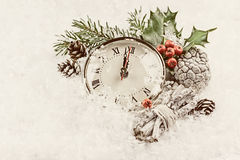 Vintage photo of Christmas clock Royalty Free Stock Image