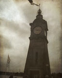 Vintage Photo of Clock Tower. A vintage photo of a clock tower in Dusseldorf, Germany Royalty Free Stock Photo