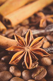 Vintage photo, Closeup of anise, cinnamon sticks and coffee grains, ingredients for cooking or baking Royalty Free Stock Photos