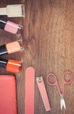 Vintage photo, Cosmetics and accessories for manicure or pedicure, concept of nail care, copy space for text Stock Image