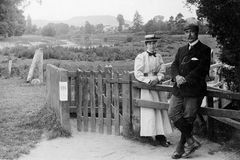 1898 Vintage Photo of Couple out Walking, Hereford. 1898 Vintage Photo of Couple out Walking in Hereford, England Stock Images