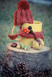 Vintage photo, Cup of beverage with woolen cap wrapped scarf on wooden stump Royalty Free Stock Photo