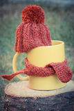 Vintage photo, Cup of beverage with woolen cap wrapped scarf on wooden stump Stock Photos