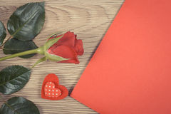 Vintage photo, Decoration of red rose, heart and love letter for Valentines Day Stock Photos